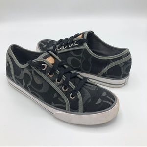 Coach Dee Sneakers Shoes Black Silver 6 Signature